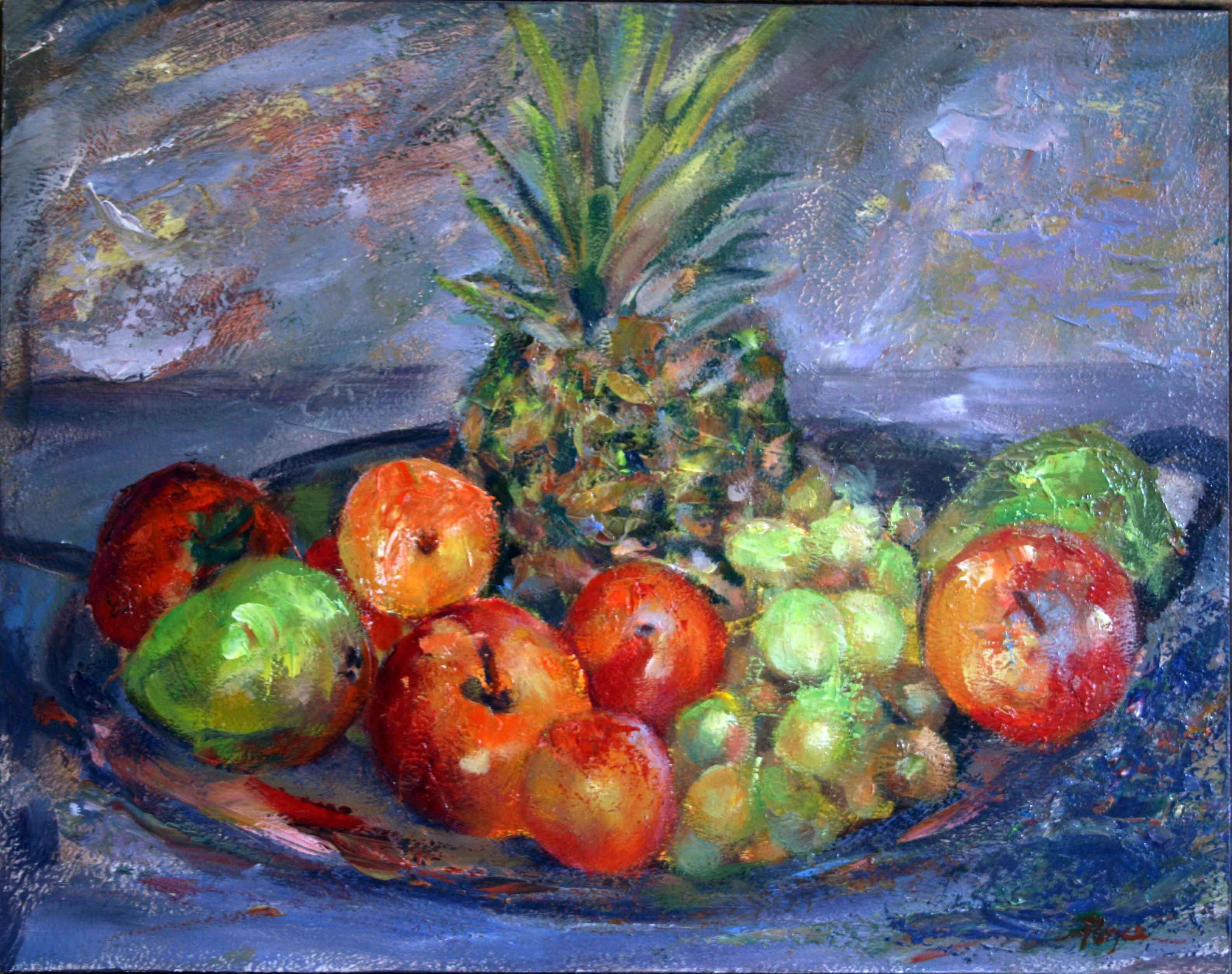Frutas y Piña 038x030 Óleo sobre Tabla