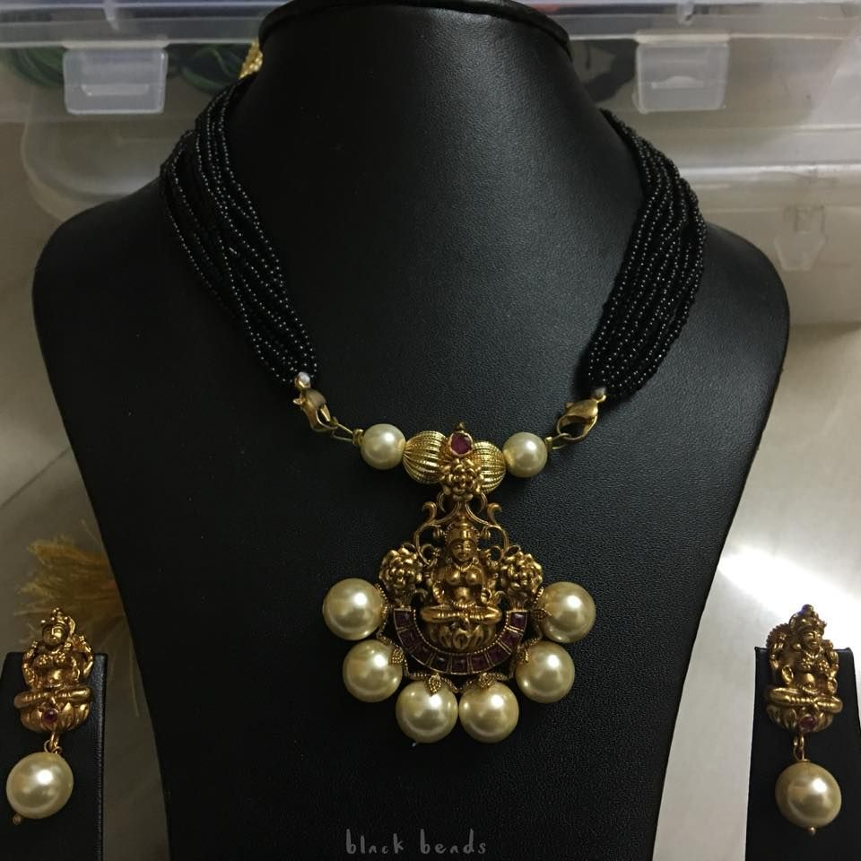 Beautiful black bead chain with lakshmi devi