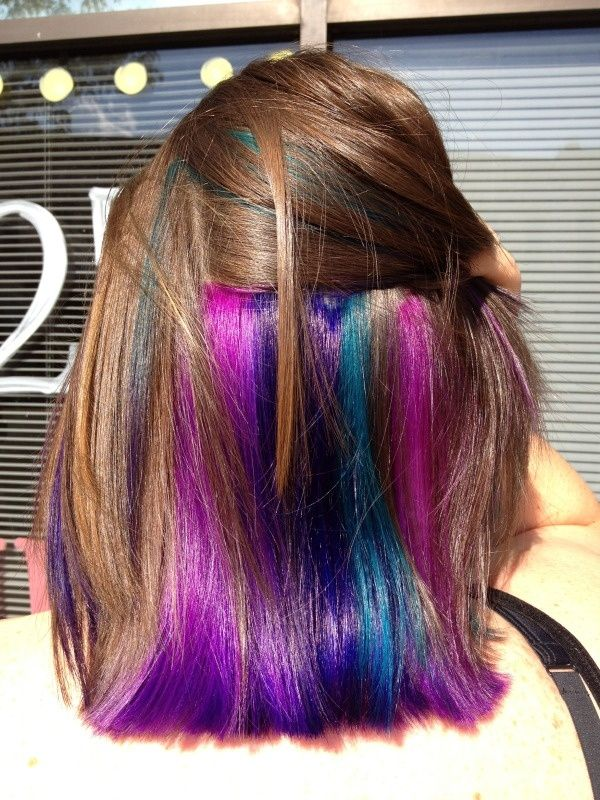 Sadie Hacked Off All Her Hair And We Colored The Underlayer Pink Blue Teal And Purple I Want Underlights Hair Peekaboo Hair Hair
