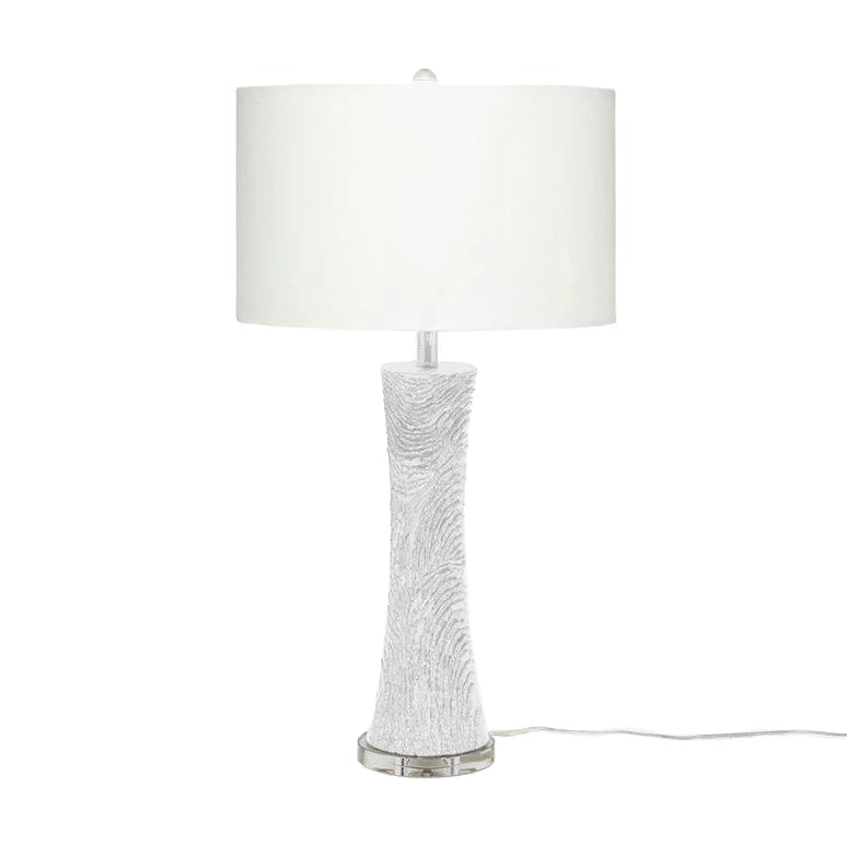 The Rikard Table Lamp In White Resin From Made Goods Features Glamorous Texture And Elegant Style The Elongated Hourglass Sha Lamp Table Lamp White Table Lamp