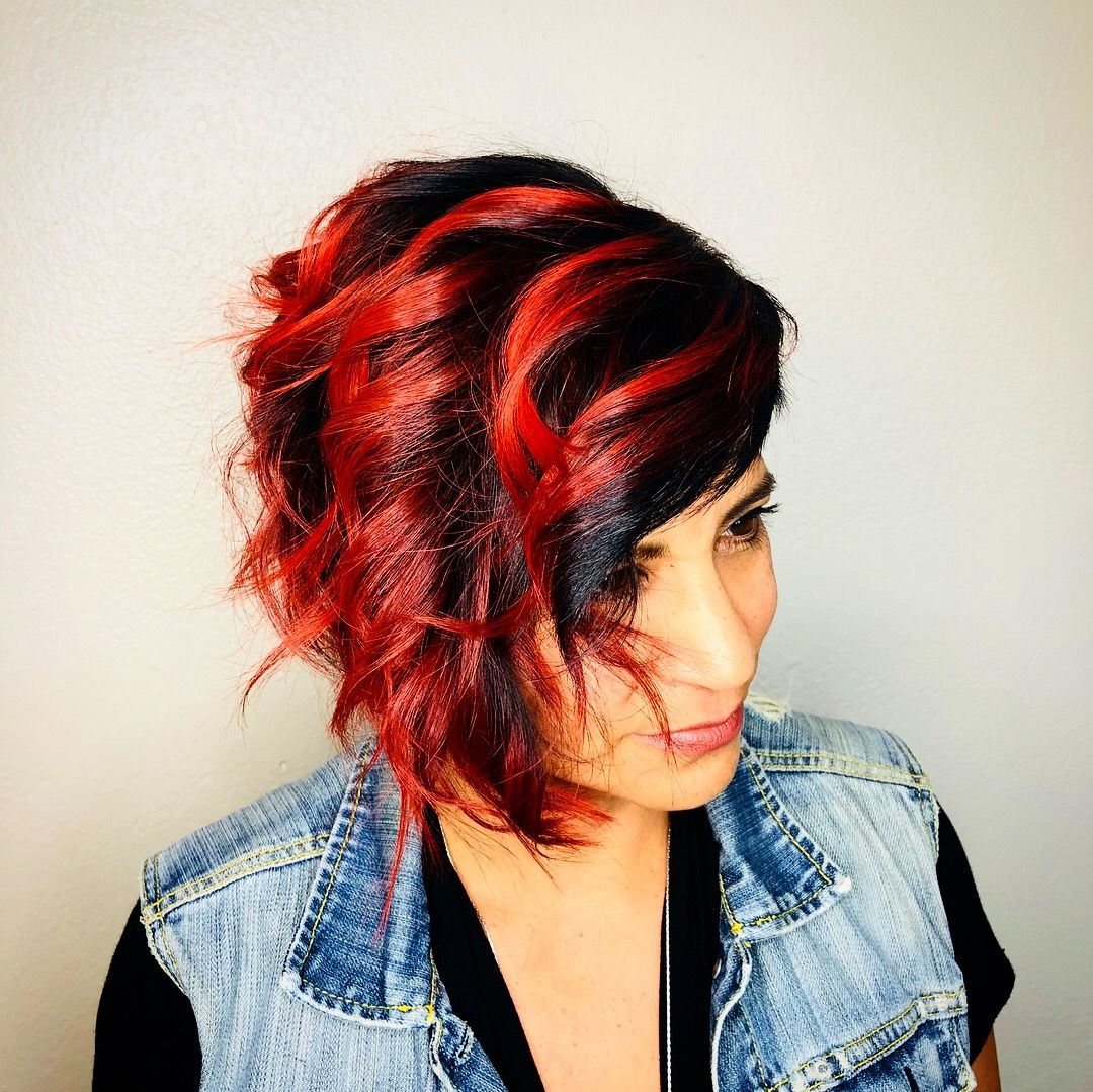 shadow root with fire red balayage ends @bosslasyhairdiva