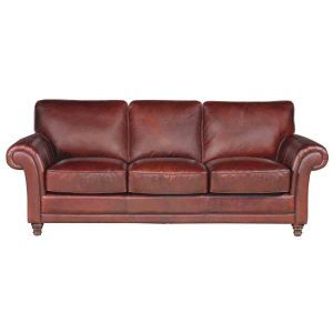 Cranberry Leather Sofa   Living Room Furniture