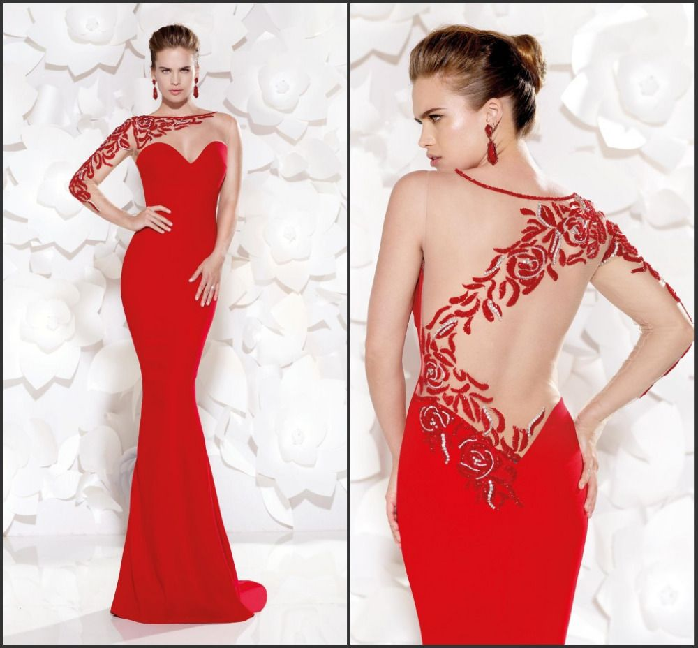 Wow red embroidery one shoulder long sleeve evening dress mermaid