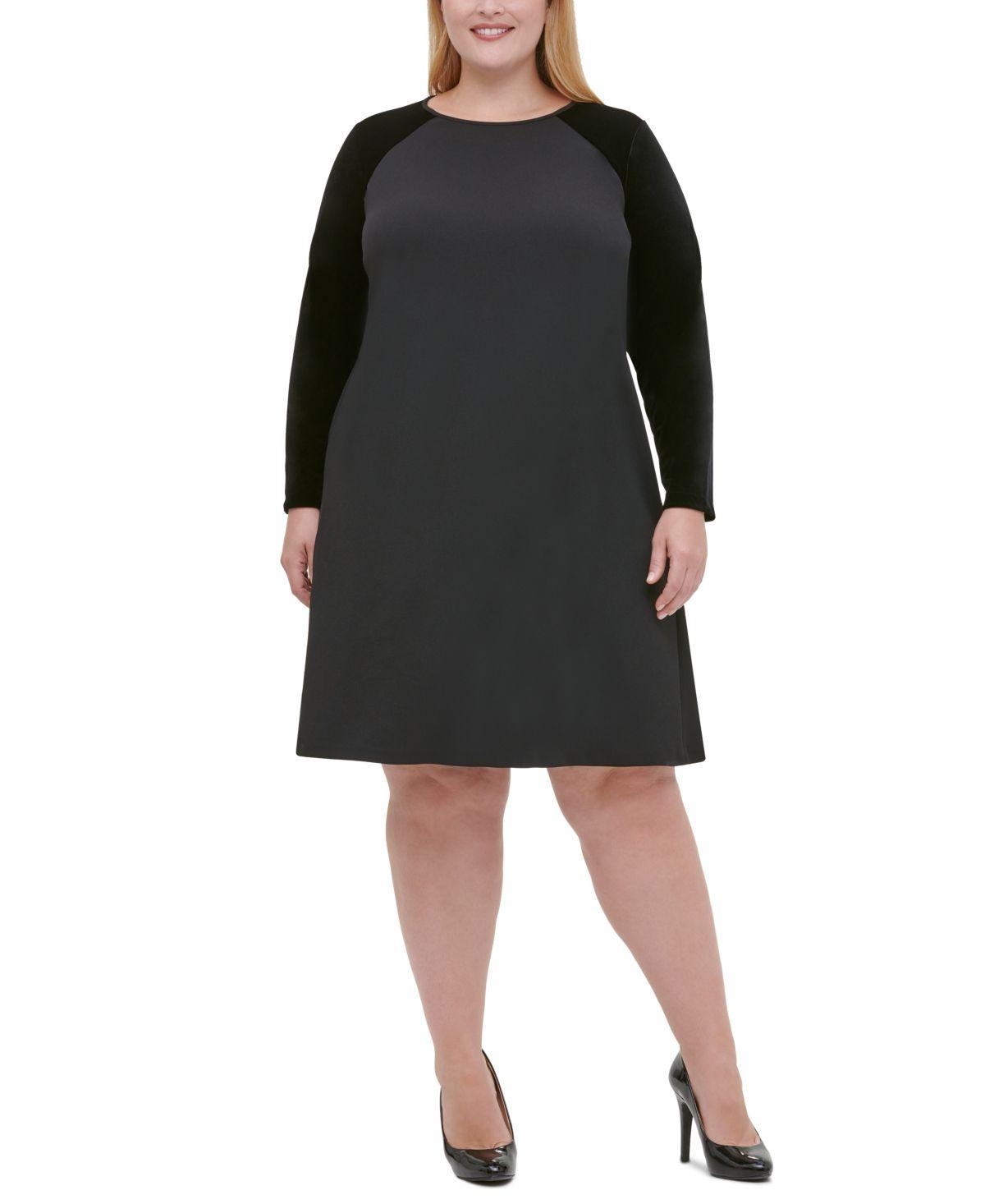 Tommy Hilfiger Plus Size Velvet-Sleeve A-Line Dress – Black