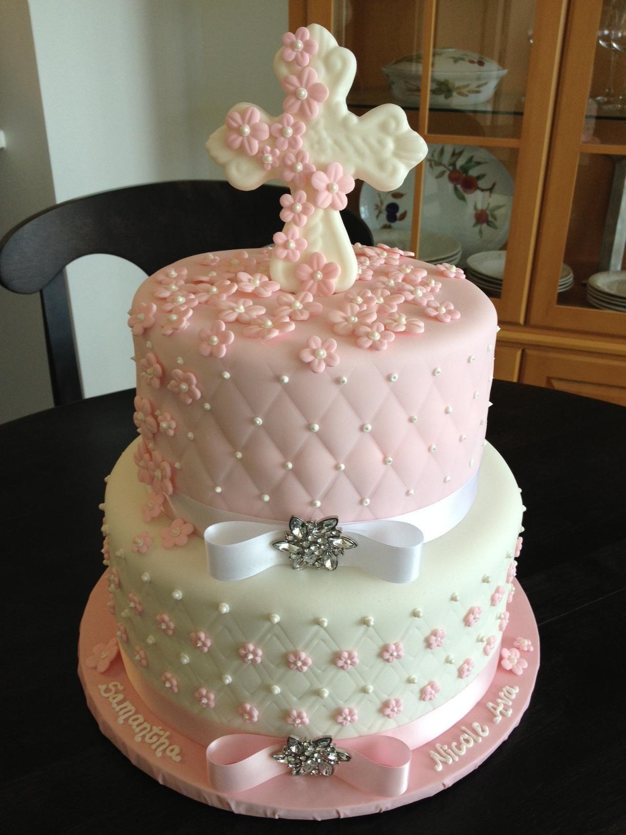 Tarta comunion rosa y blanca | Cake Comunión | Pinterest | Tartas ...
