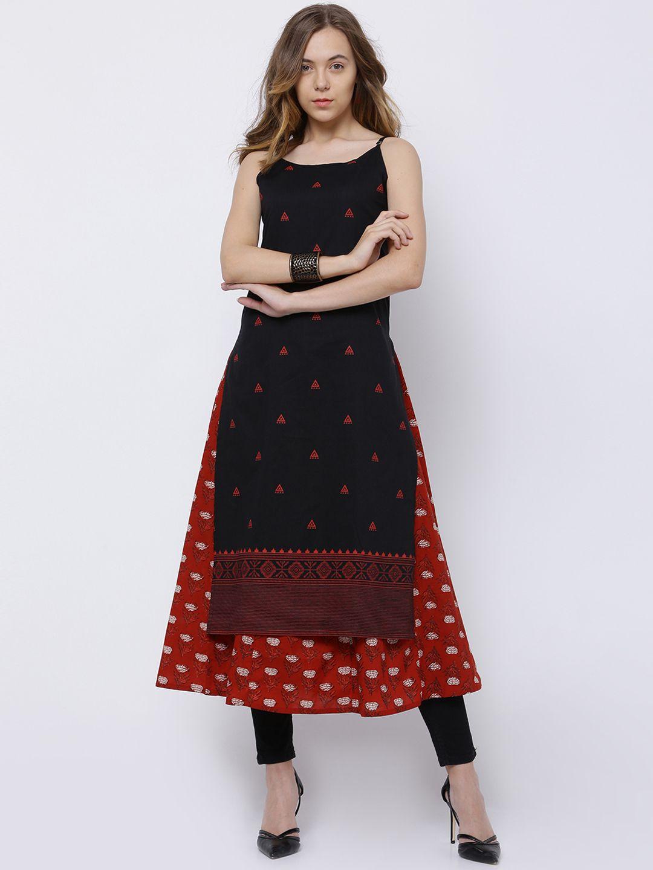 9d909d72f49 Vishudh Women s  Black   Red Printed A-Line  Overlay Kurta  IndoWestern