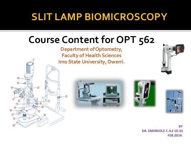 Slit lamp biomicroscopy optom pinterest a classroom presentation showing the various types of slit lamps their parts and other accessory instruments that can be used with it for enhanced mozeypictures Gallery