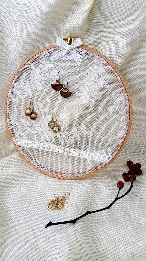 "Photo of Earring rack ,Earring holder ,Earring stand ,Embroidery hoop with lace fabric ,Jewelry rack ,Size 12.7"",earring organizer, earring display"