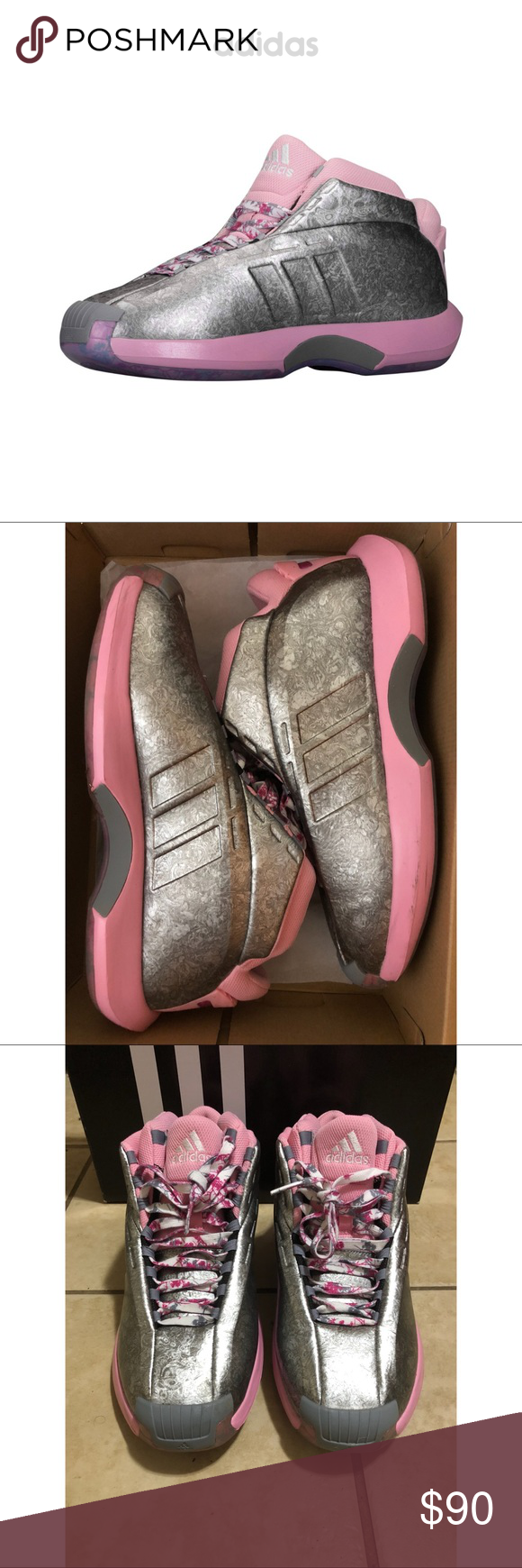 official photos cb563 e8d63 Adidas Crazy 1 Adidas Crazy 1 florist John Wall pink rose silver. These are  really cool! GUC. Comes with original box   laces. Men s size 12. adidas  Shoes ...