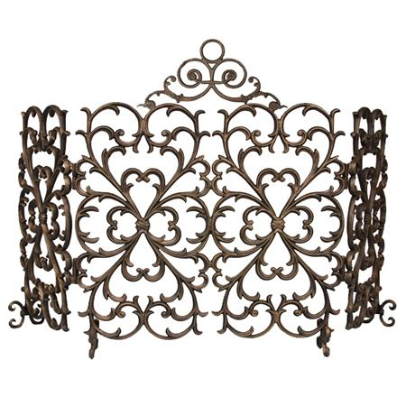 Iron Fireplace Screens cast-iron scrollwork fireplace screen 4-panel arch | interior