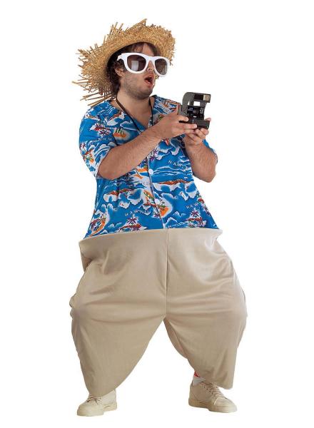 Hawaiikostüm Aloha Kostüm XXL Touristenkostüm mit Hut