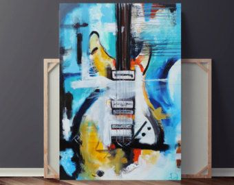 Guitar Painting Abstract Painting Large Original Painting on