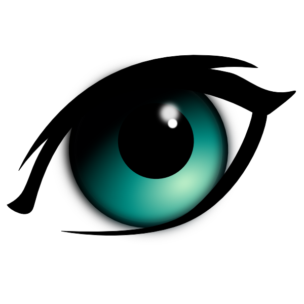 Eyes anime. Animated blue cartoon eye