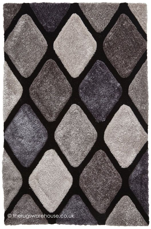 Melio Black Grey Rug A Soft Long Pile Modern Hand Tufted From Acrylic