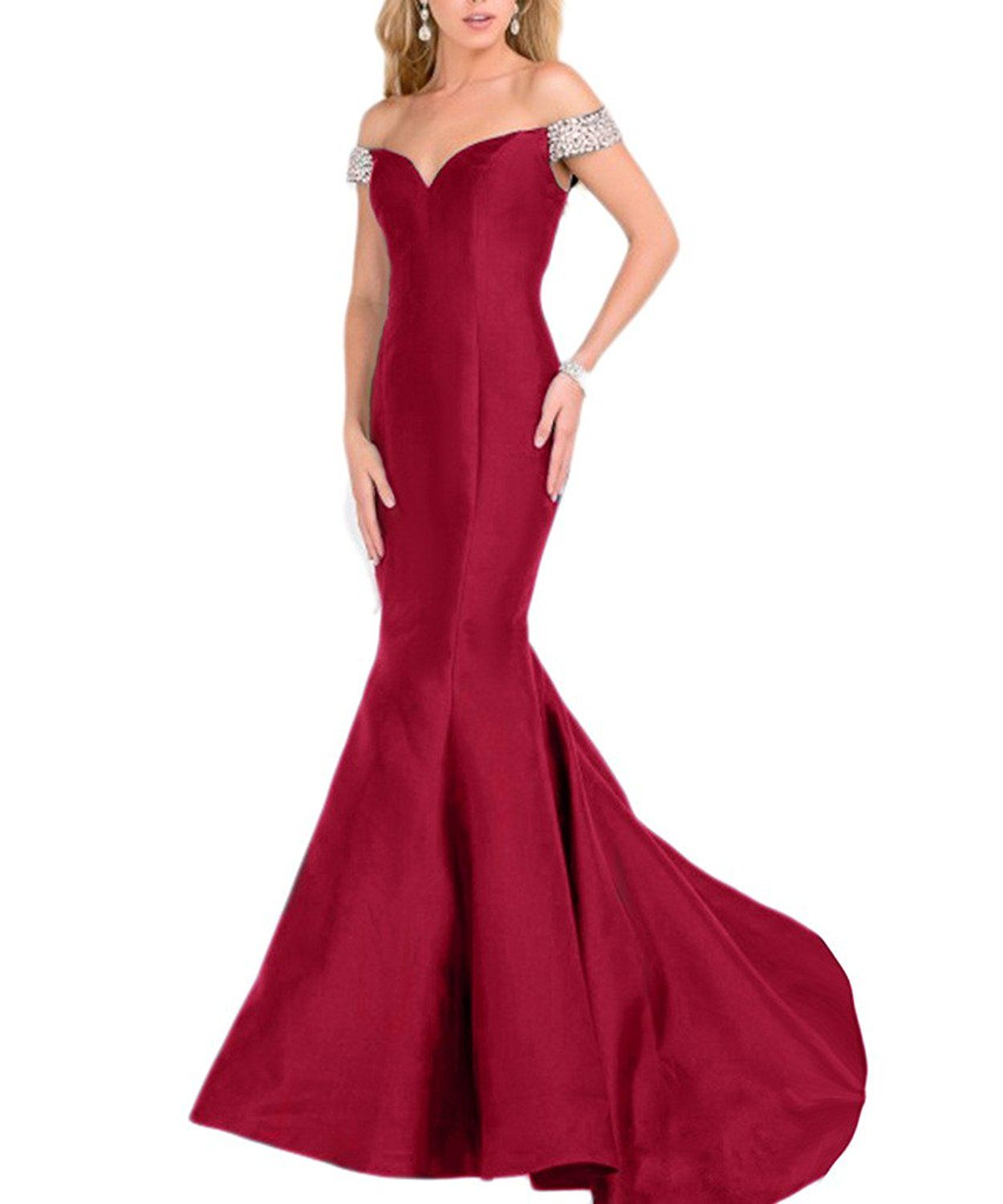 Beilite womenus off shoulder satin mermaid evening gowns long prom
