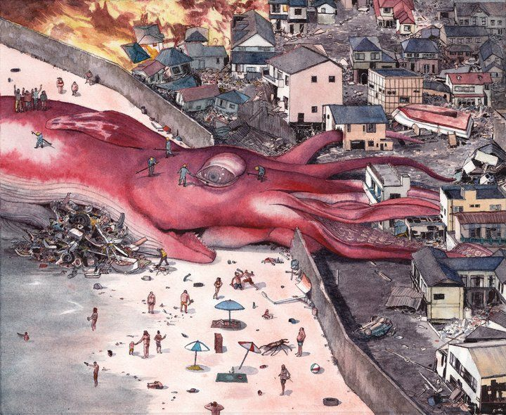 The Belly's Ocean, A Giant Squid Painting by Matt Rota ...