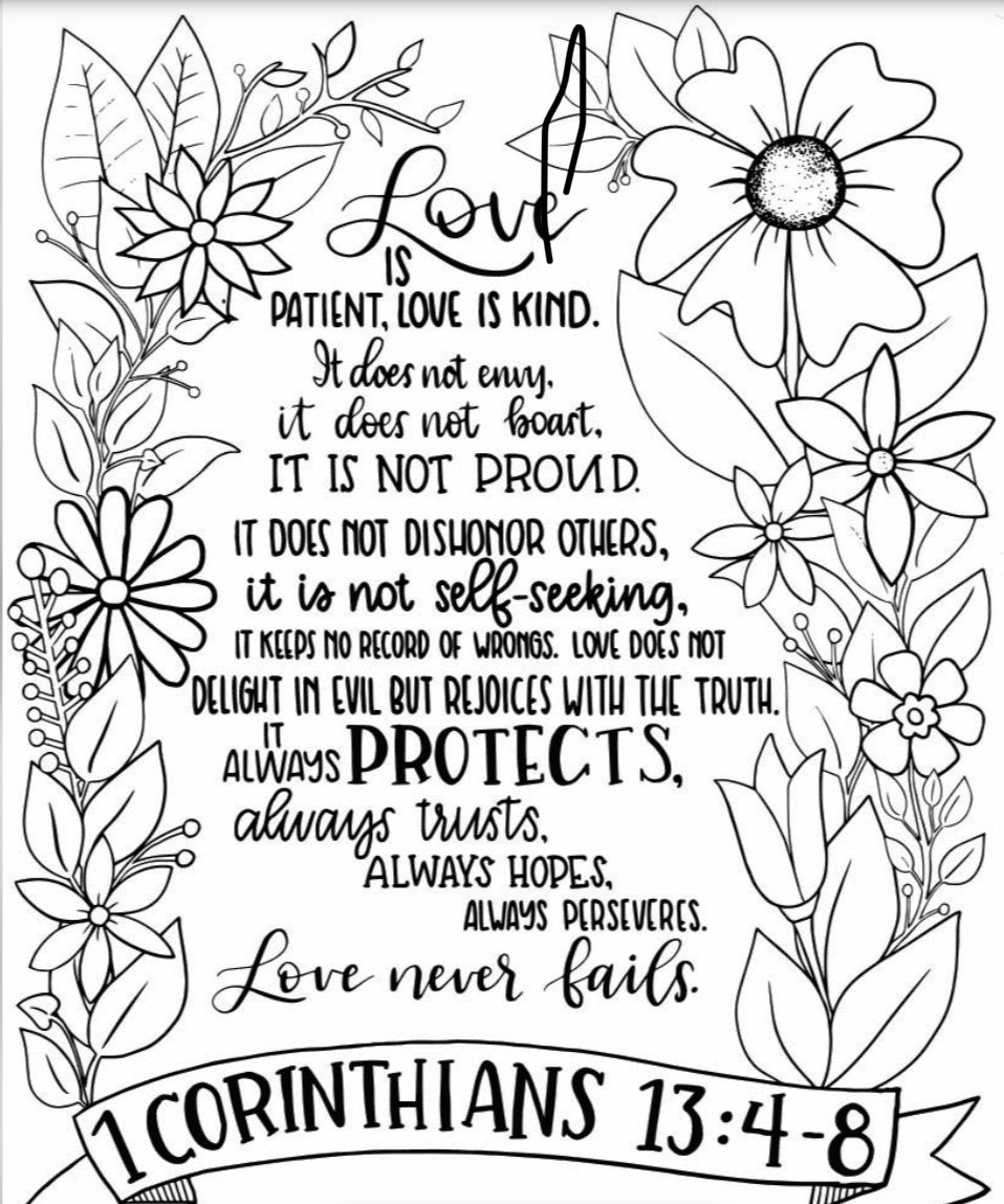 12+ Love is patient love is kind coloring page HD