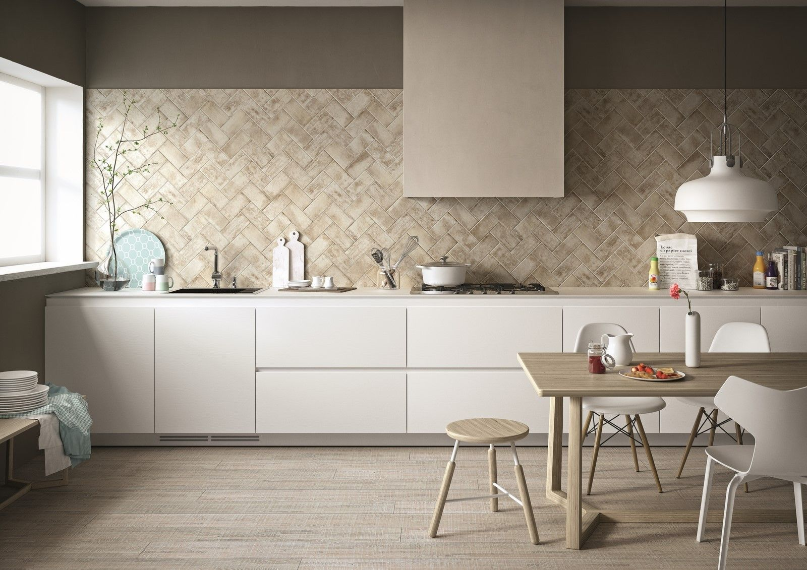West End White Brick Effect Wall And Floor Tile Kitchen