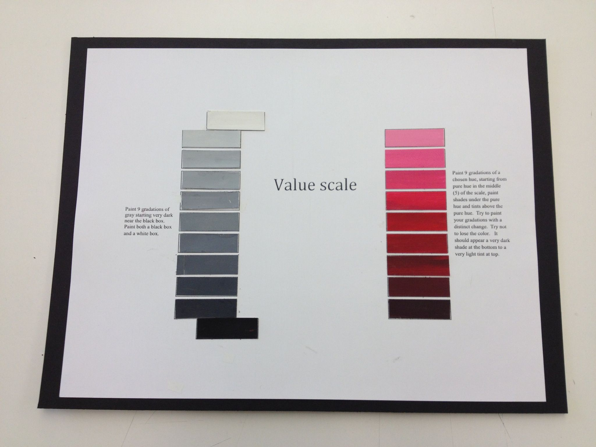 Color value art projects - Color Values Scale