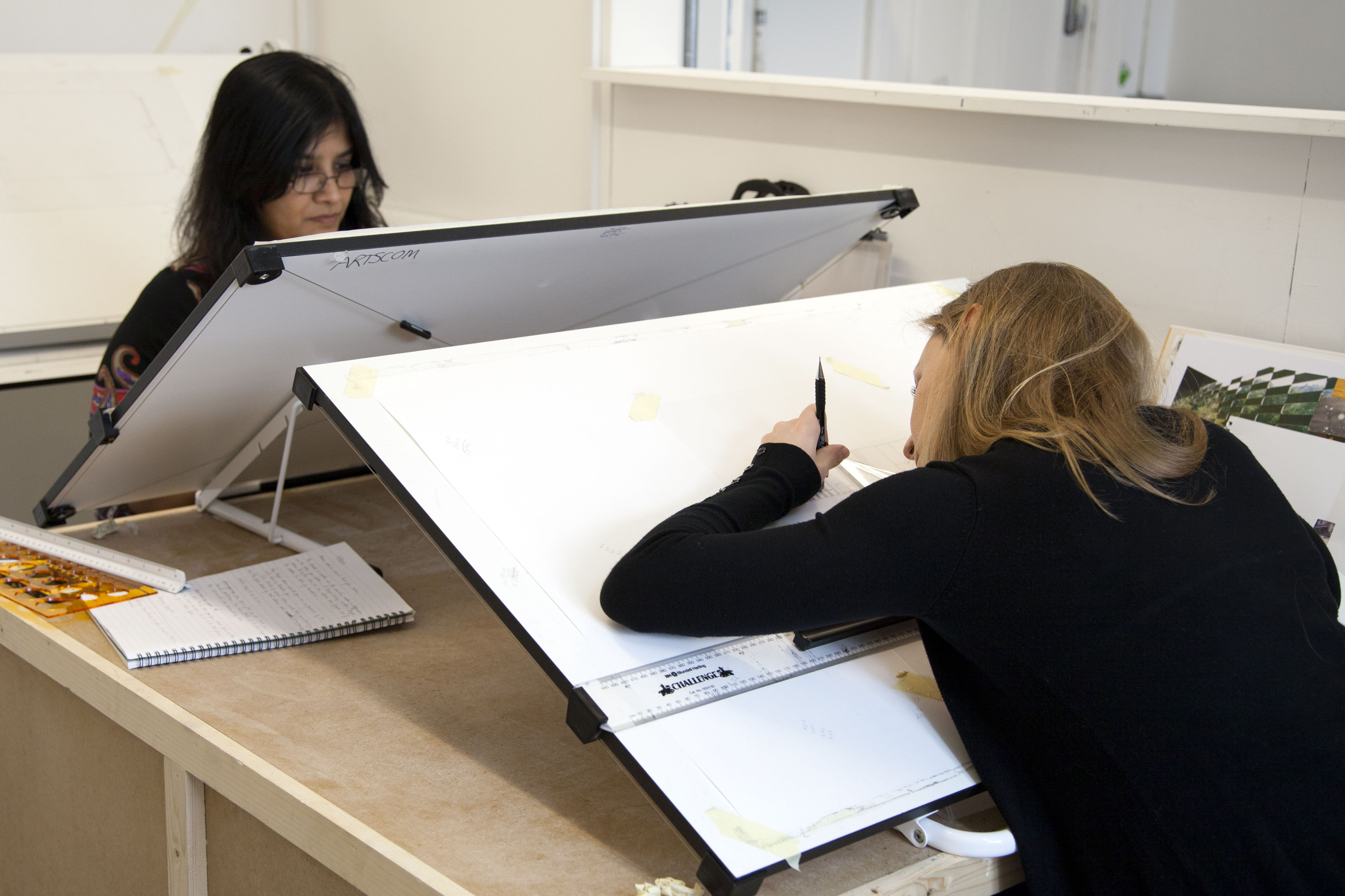 Students At Their Drawing Boards During Introduction To Interior Design Plus Photograph Spine Photographic Interior Design Student Interior Design Design