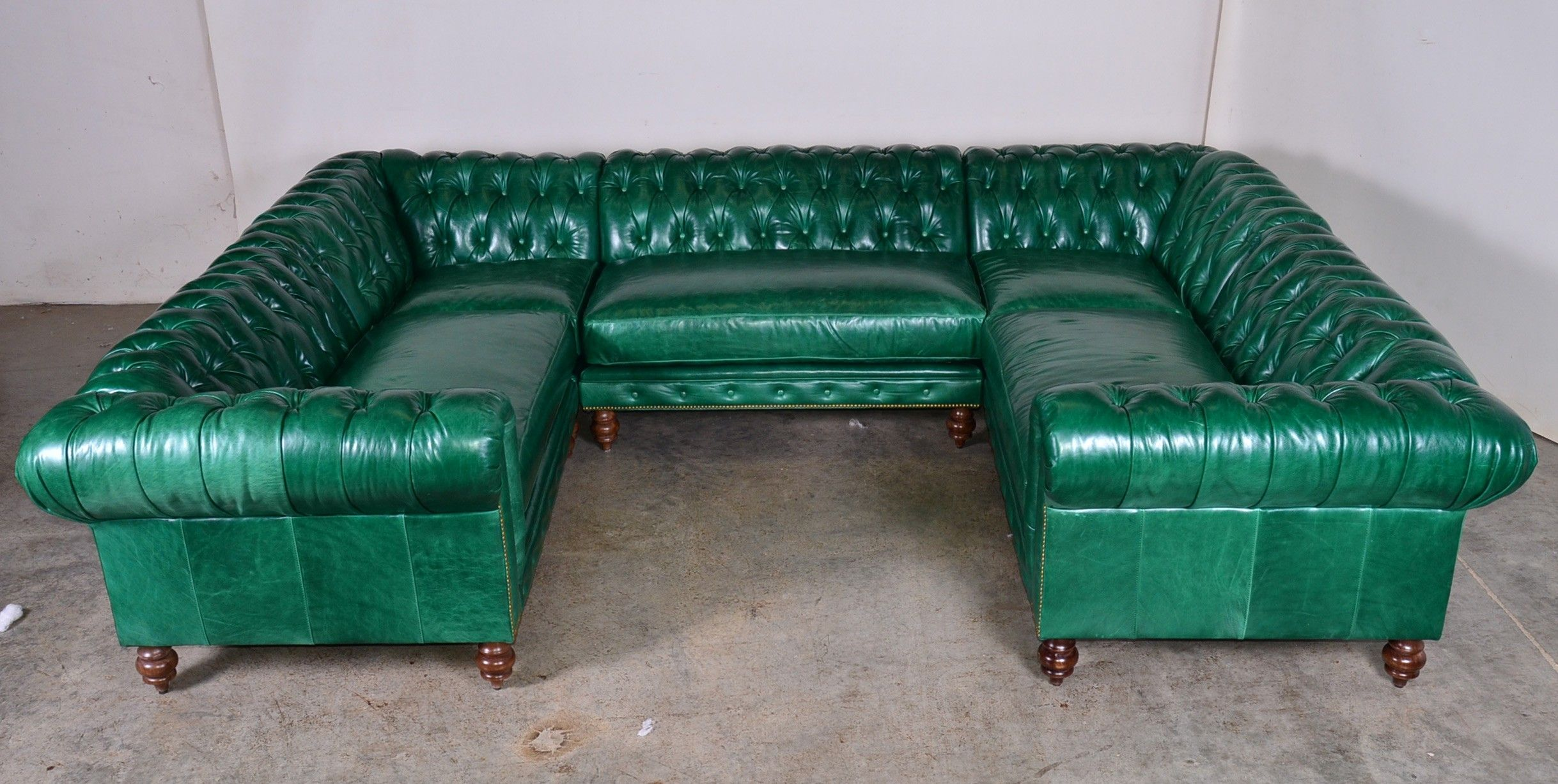Green Leather Sectional Sofa With U Shape Plus Back Also ...