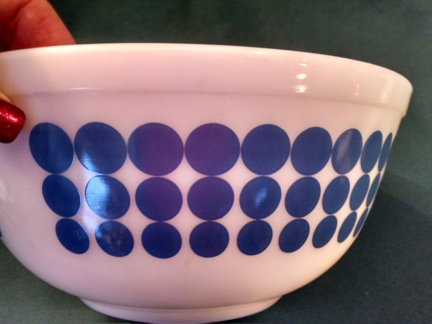 Vintage Pyrex, New blue dot in Excellent condition, 403 2 1/2 quart, Pyrex nesting bowl, new blue dot nesting bowl, Pyrex, Vintage Pyrex by Vintagepetalpushers on Etsy