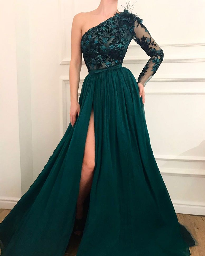 28 Prom Dresses That Will Make You The Prom Queen - one shoulder long sleeves green a line dress #promdress #greendress