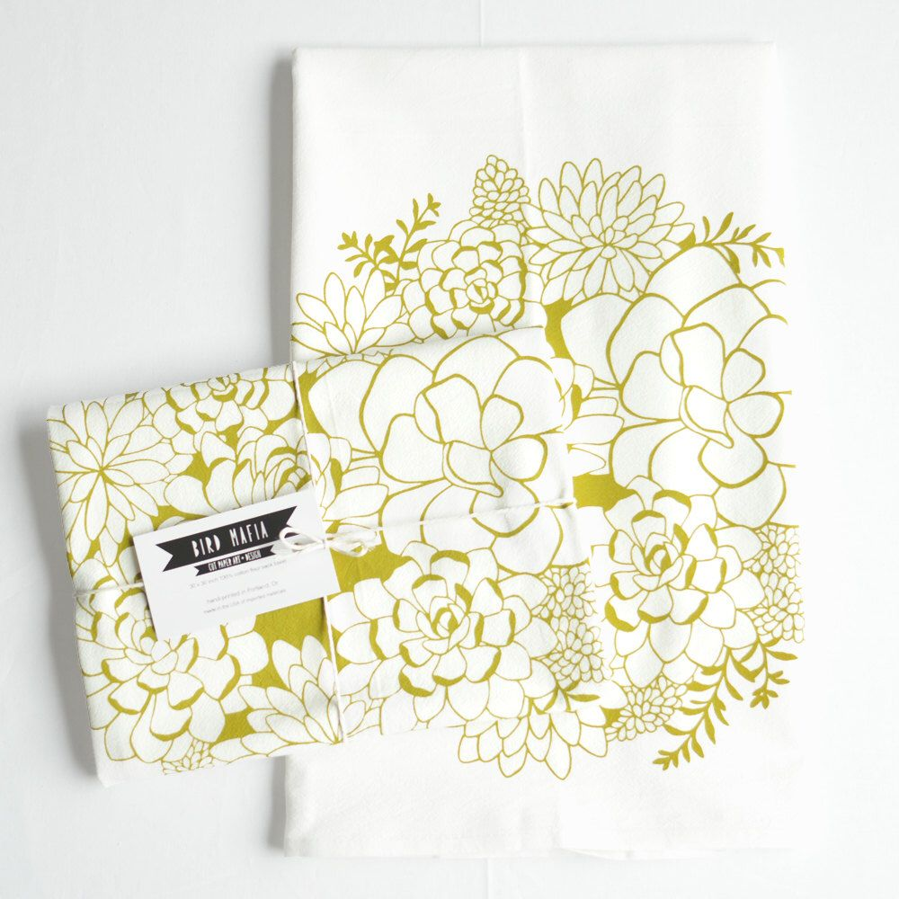 succulents flour sack towel, 100% cotton, hand-printed, chartreuse green by birdmafia on Etsy https://www.etsy.com/listing/263062022/succulents-flour-sack-towel-100-cotton