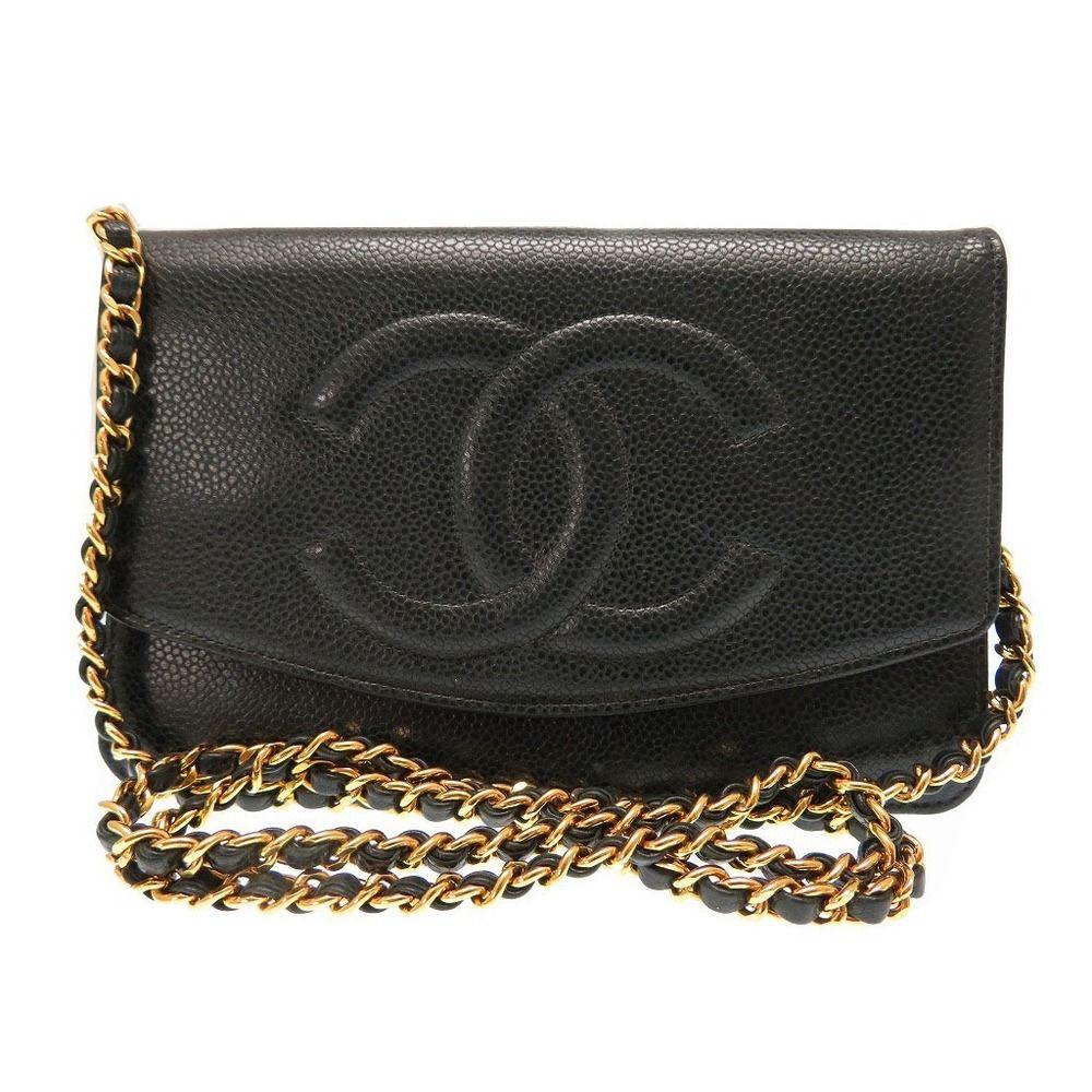 097f375aca9054 chanel Caviar Wallet Chain Shoulder Bag Green Vintage Coco Mark 0259 ...