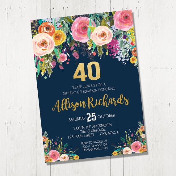 40th Birthday Invitation For Female Woman Women By StyleswithCharm