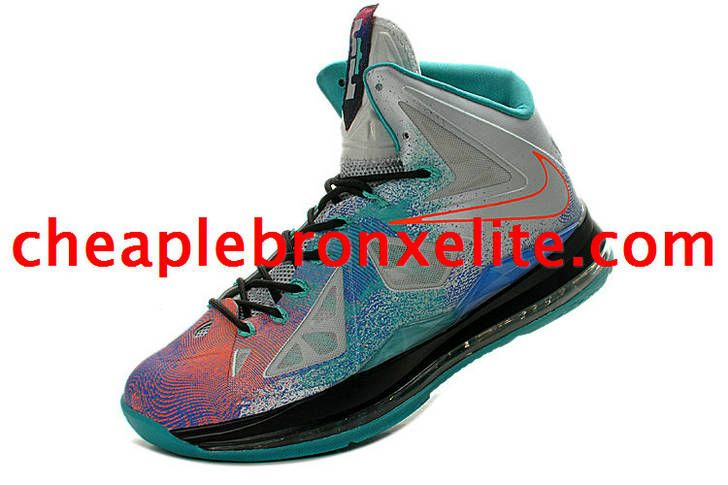 e3241d9b960d40 Nike Lebron X PS Pure Platinum Black Orange Red Blue 541100 008 ...