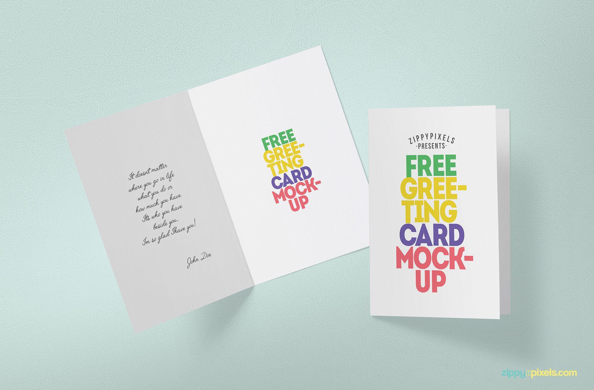 Free Greeting Card Mockup Free Greeting Cards Greeting Card