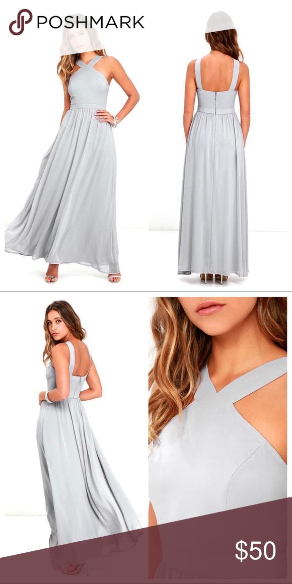 d0be147f83788 Lulus Air of Romance Grey Maxi Dress Lulus Air of Romance Grey Maxi Dress.  Lightweight Georgette modified halter neckline, seamed bodice, ...