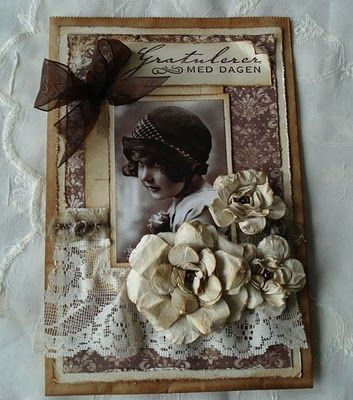 Mette `s Card World: Tutorial for beautiful vintage look flowers