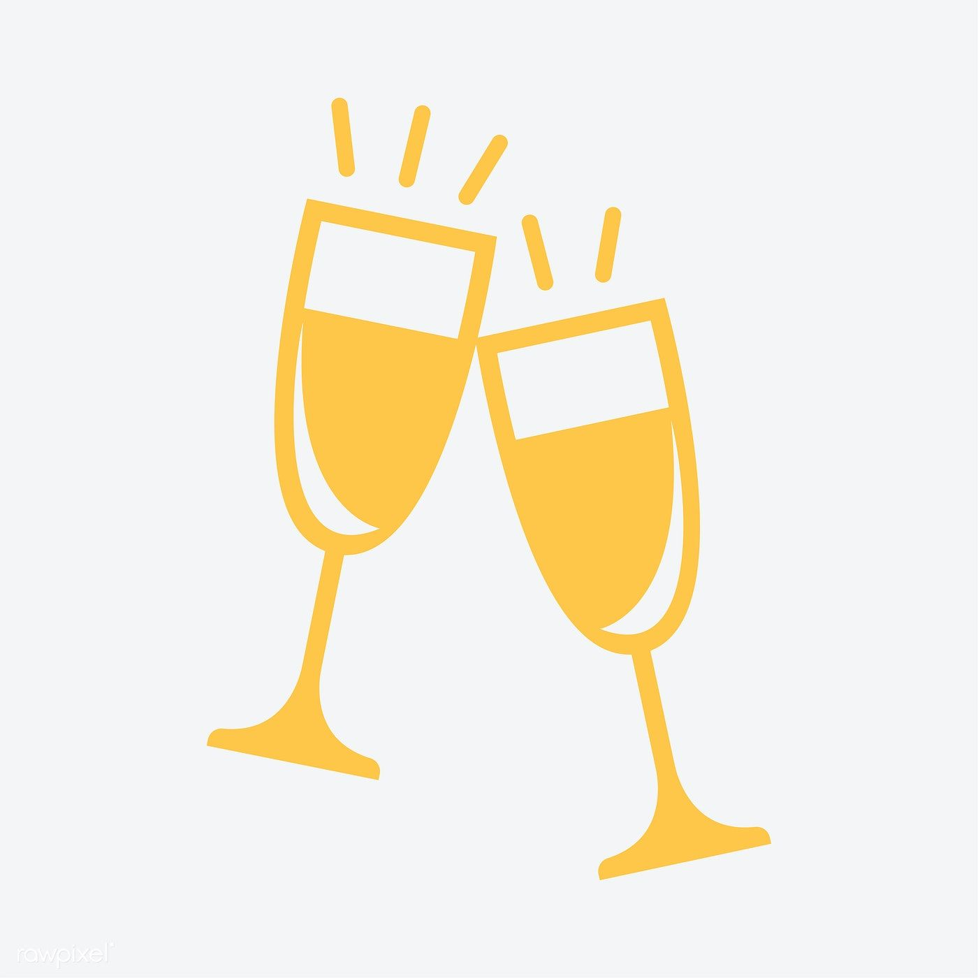 Champagne Glasses Hand Drawn Icons How To Draw Hands Hair Logo Design Hand Drawn Icons