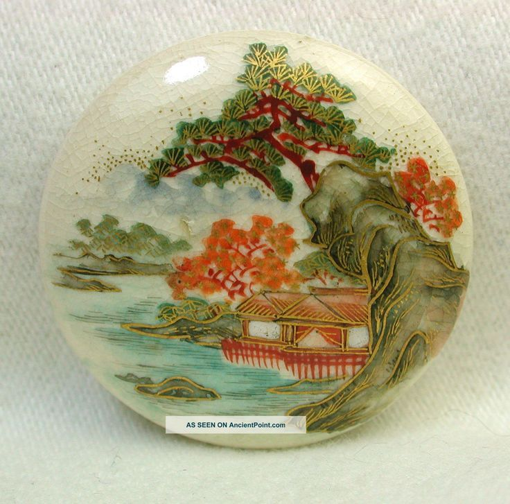 Lg Antique Meiji Satsuma Button Lakeside Scene W/ Maples & Pines & Gold Bkmk Buttons photo