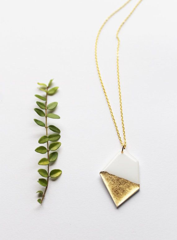Contemporary white and gold dipped pendant in white and gold by DanaJewellery