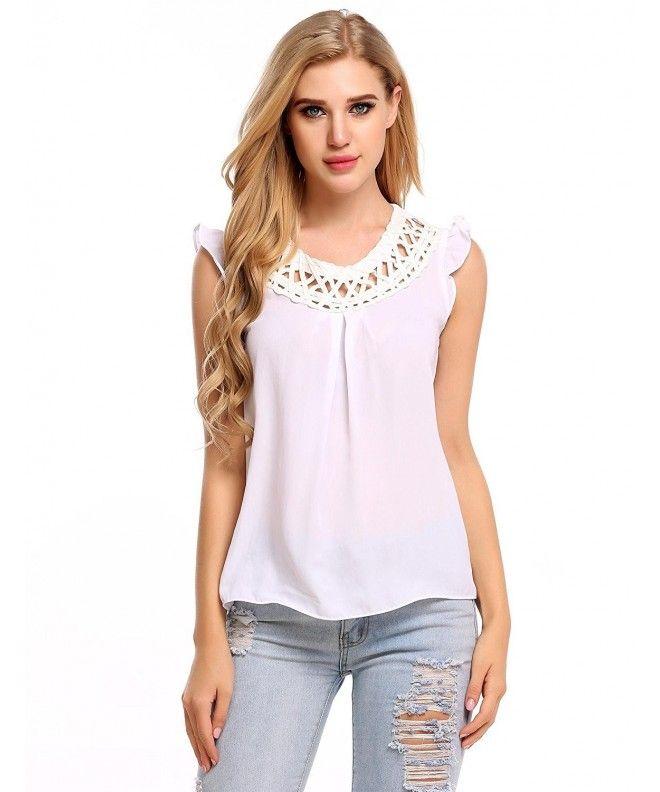 bef5168390a20 Women s Chiffon Lace Sleeveless Shirt Blouse Tank Tops - White -  CA1867A9ACC