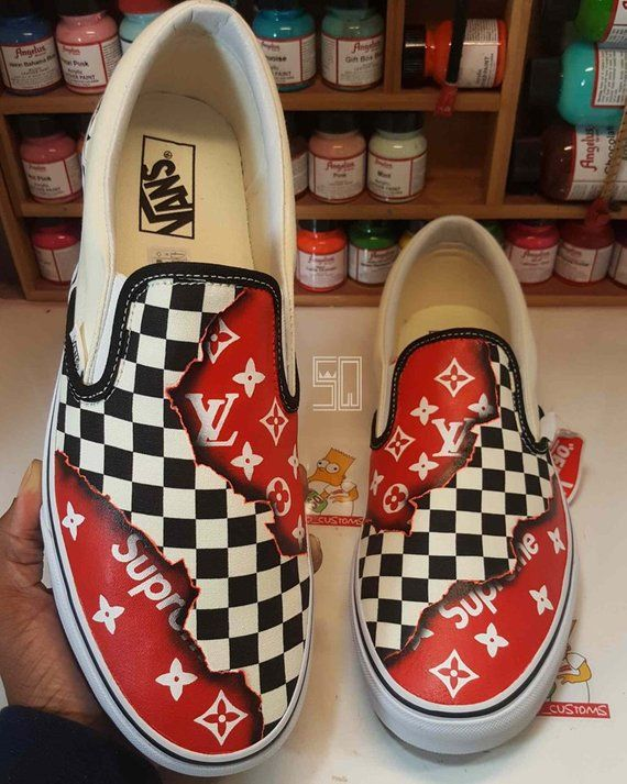 96f8c9fcd70 Burning Checkered Supreme x LV Louis Vuitton Fire Slip on Vans Slip ...