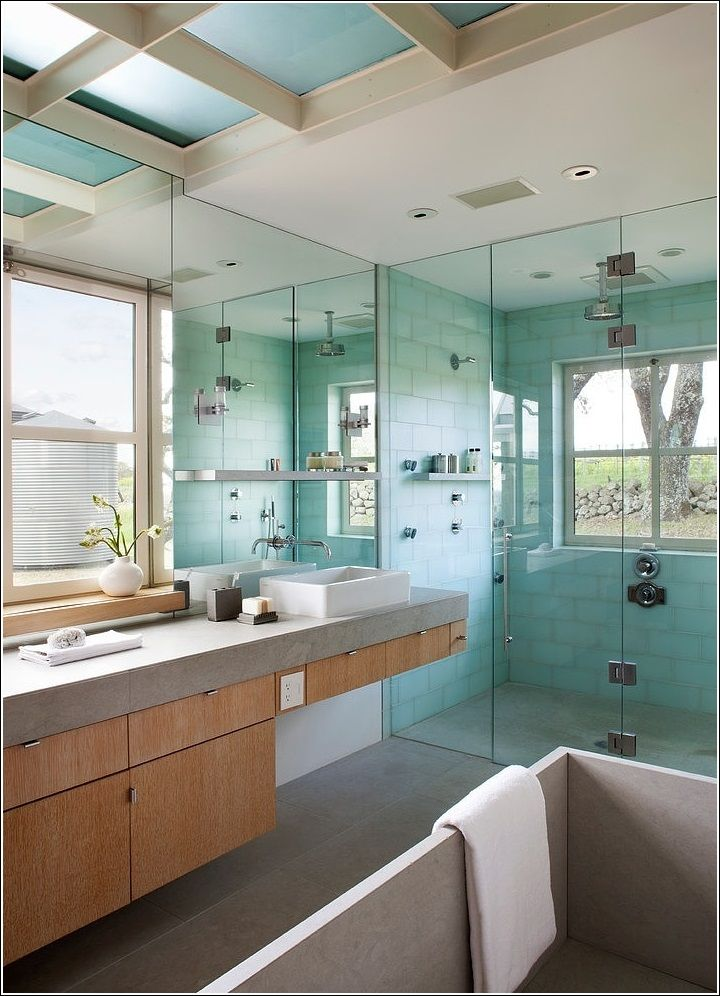Wooden Grey And Green A Perfect Combination Bathroom