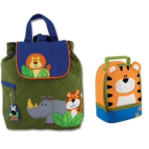 30db67fa769b Stephen Joseph Boys Quilted Jungle Animals Backpack and Tiger Lunch ...