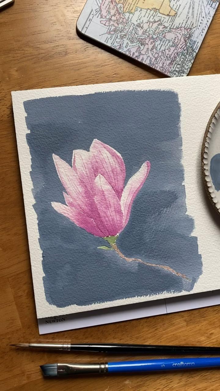 Watercolor magnolia tutorial