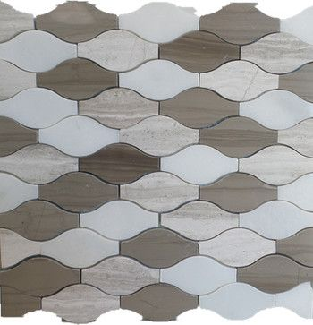 Wave Pattern Marble Mosaic Tiles 12 X12 Mix Wooden Grey And White