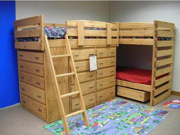 Sturdy Solid Wood Triple Lindy Bunk Beds With Lots Of Dresser Drawers For Storage Custom Built By Hand You Choos Diy Bunk Bed Bunk Bed Designs Cool Bunk Beds