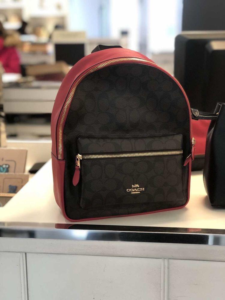 4046a656ce7b8 ... cheap coach signature medium charlie backpack purse f32200 iml72 brown  true red fashion clothing e8e83 d9756