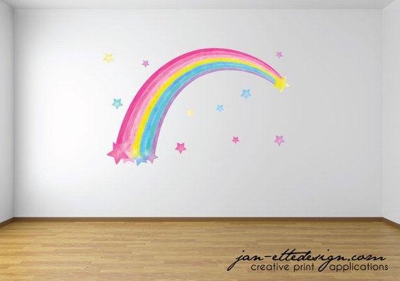 Watercolor Rainbow Wall Decal,Removable fabric Wall Decal ...