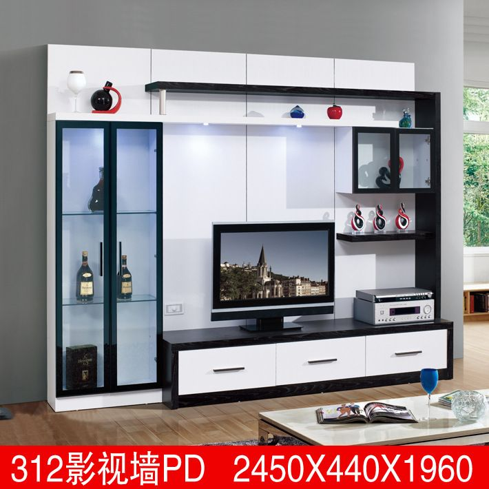 Living Room Furniture Lcd Tv Wall Unit Wood Led Design 3D1 Modern