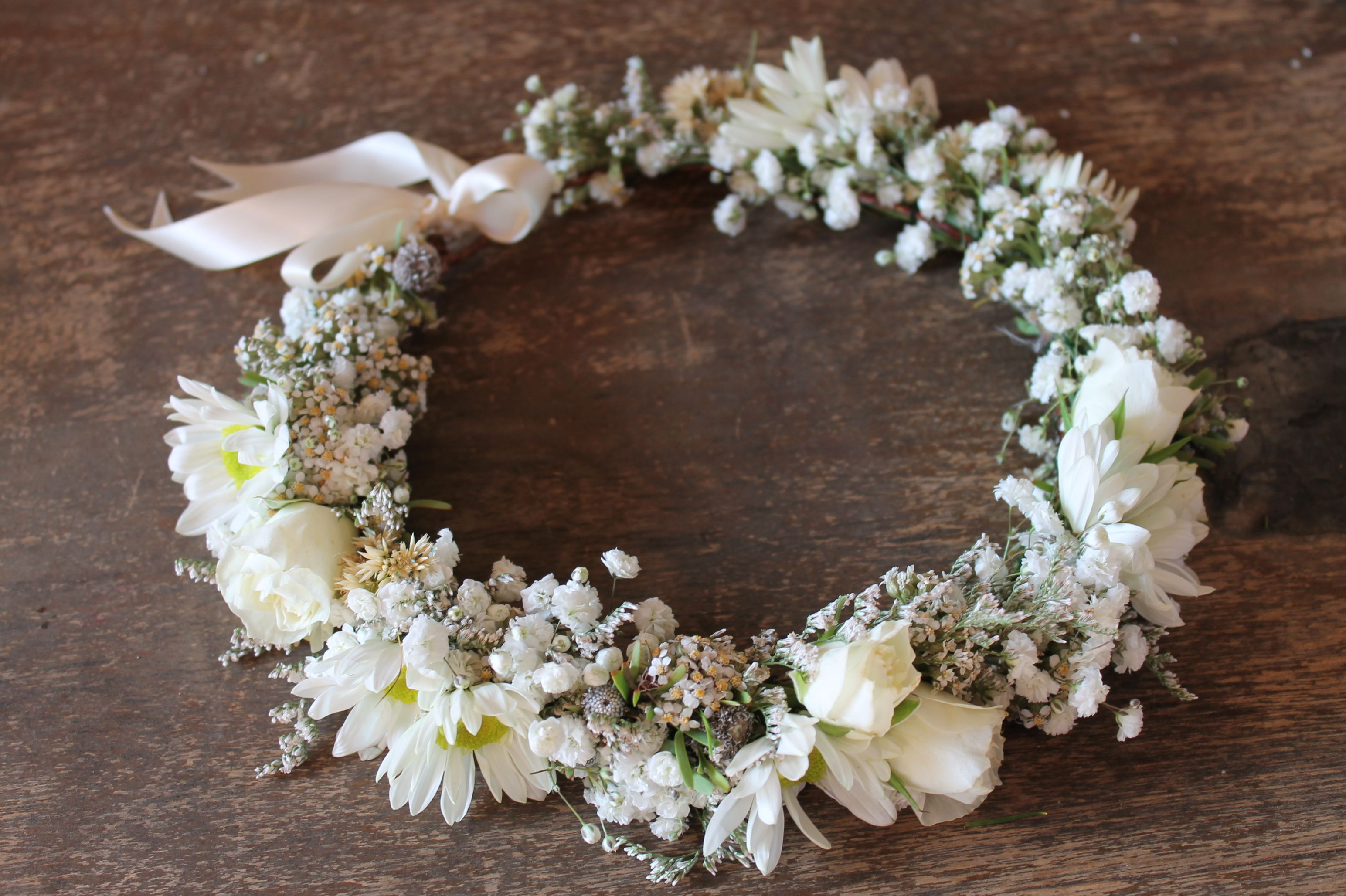 White Flower Crown Babys Breath Daisies And White Spray Roses