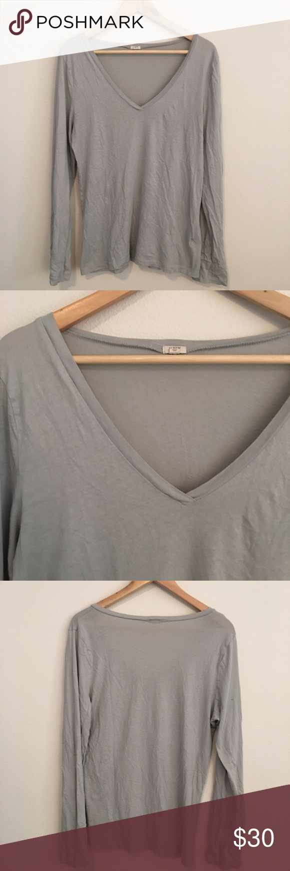 J. Crew V-neck Long sleeve Tee Excellent used condition. J. Crew gray long sleeved basic v-neck tee. Size XL. J. Crew Tops Tees - Long Sleeve