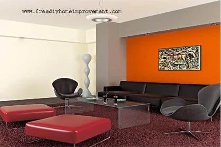 home interior wall paint color scheme with orange color | home